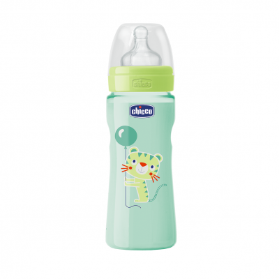 Chicco Fľaša Well-Being 0%BPA, 330 ml, neutral, silikónový cumlík, rychly